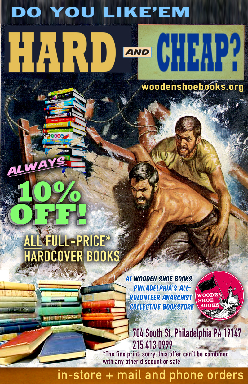 10% discount on all full-price hardcover books at Wooden Shoe Books